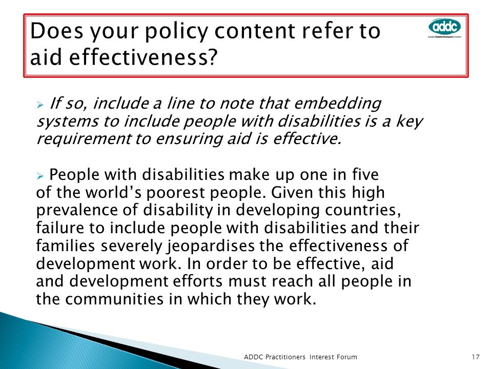  If so, include a line to note that embedding systems to include people with disabilities is a key requirement to ensuring aid is effective.