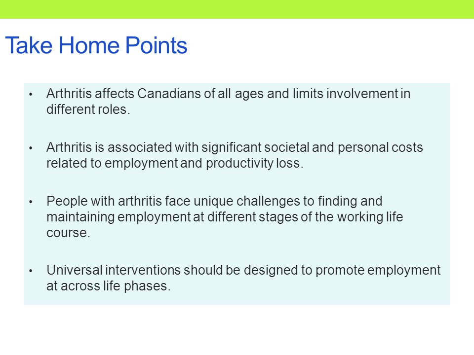 Take Home Points Arthritis affects Canadians of all ages and limits involvement in different roles.