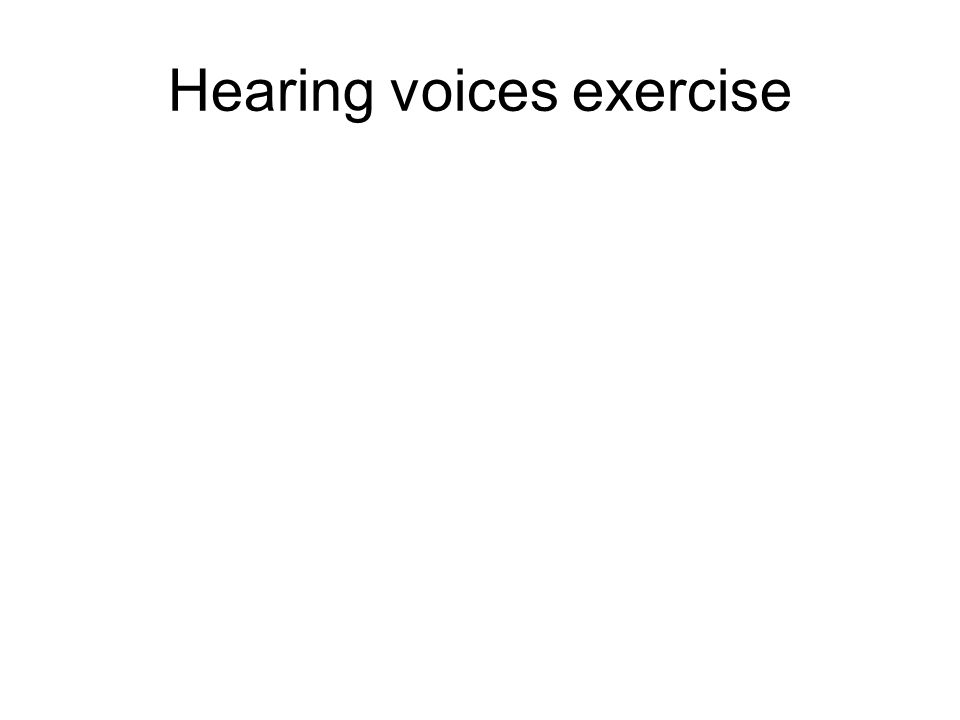 Hearing voices exercise