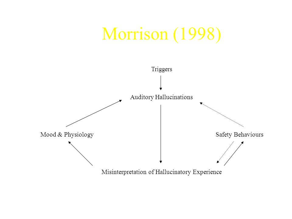 Morrison (1998) Triggers Auditory Hallucinations Mood & PhysiologySafety Behaviours Misinterpretation of Hallucinatory Experience