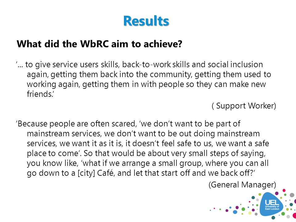 What did the WbRC aim to achieve. '...