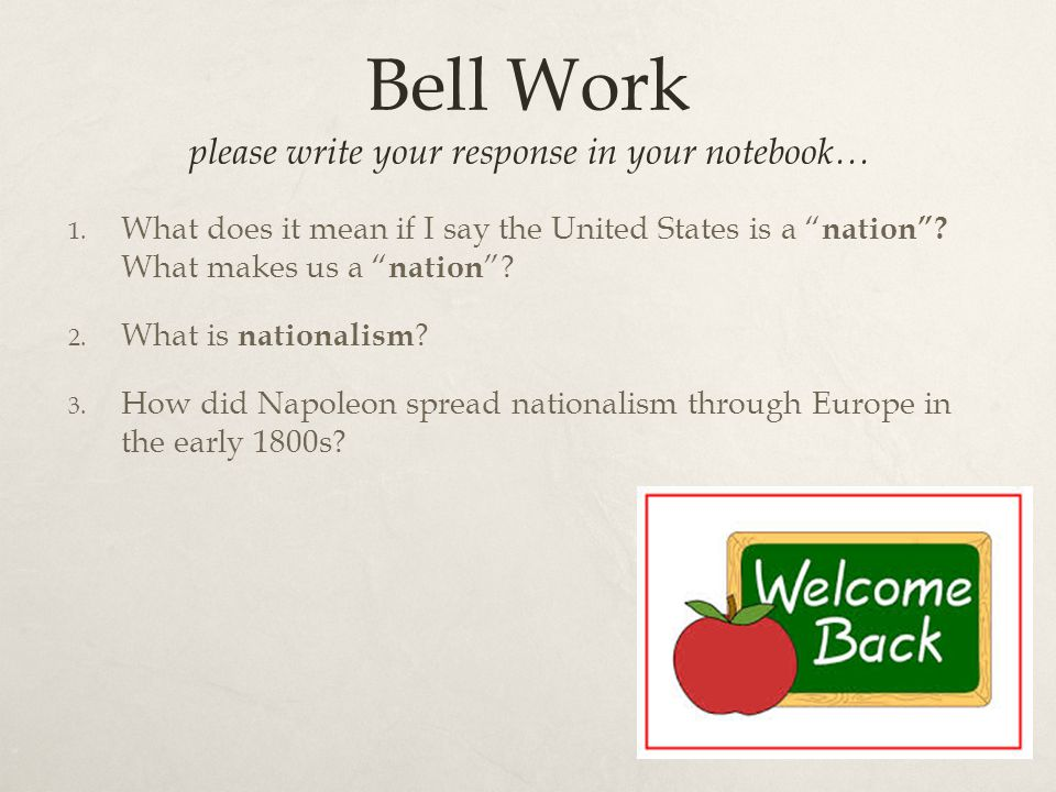 Vocab  Nation: A group of people that live in a certain territory that see themselves as one unit or group and follow the same government/leader.