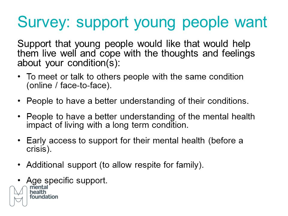 Survey: support young people want Support that young people would like that would help them live well and cope with the thoughts and feelings about your condition(s): To meet or talk to others people with the same condition (online / face-to-face).
