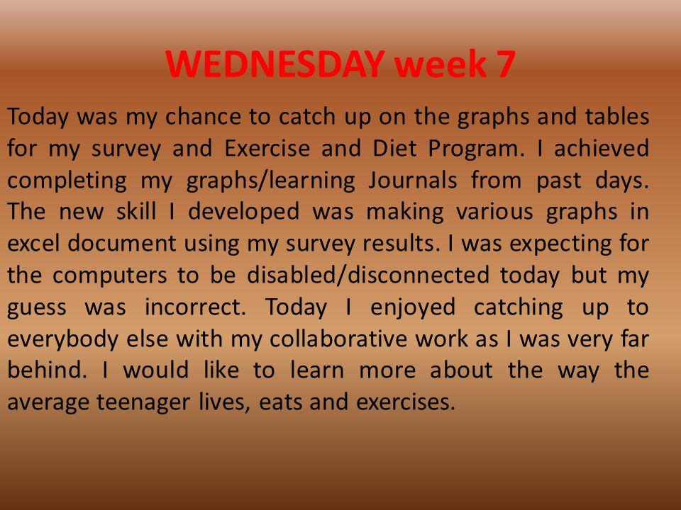 WEDNESDAY week 7 Today was my chance to catch up on the graphs and tables for my survey and Exercise and Diet Program.
