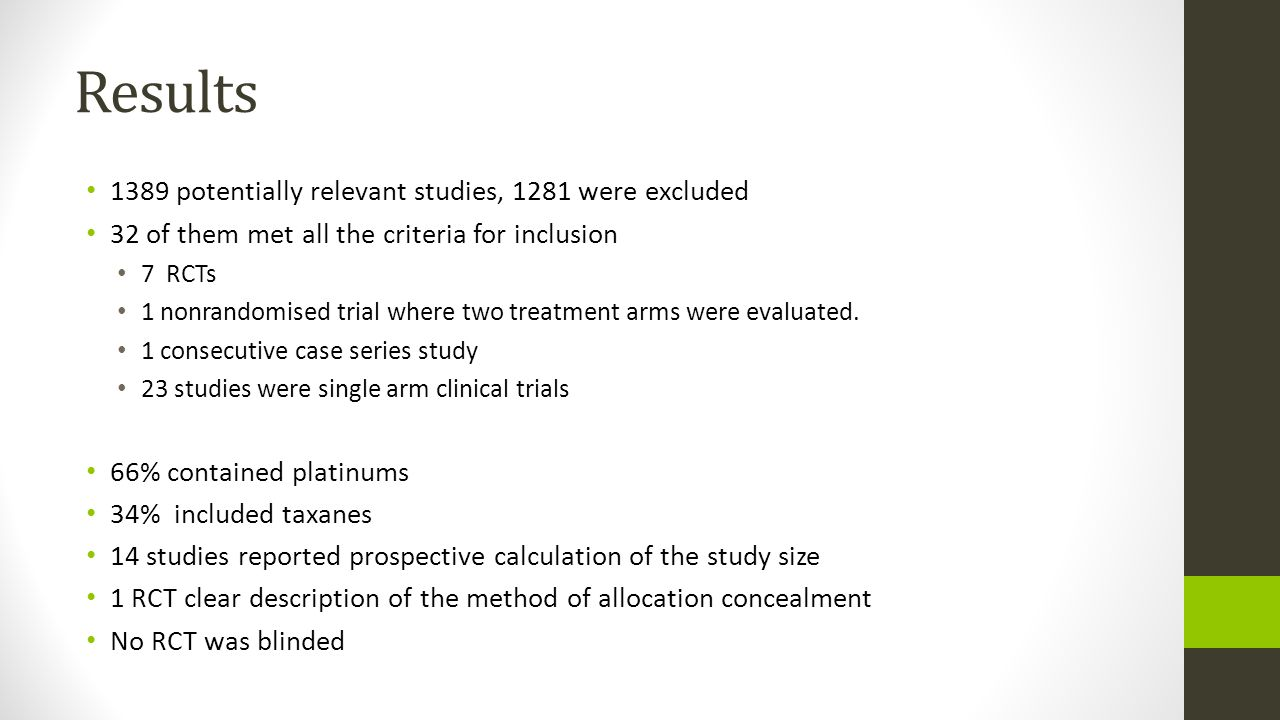Results 1389 potentially relevant studies, 1281 were excluded 32 of them met all the criteria for inclusion 7 RCTs 1 nonrandomised trial where two tre
