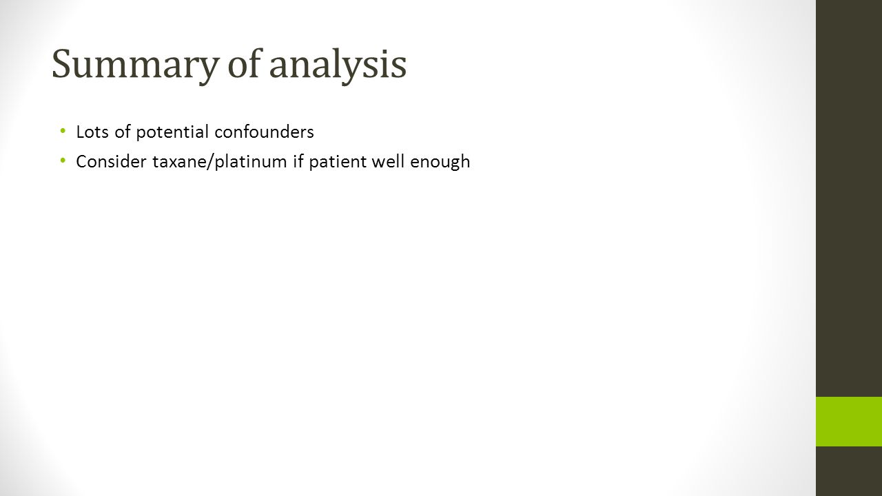 Summary of analysis Lots of potential confounders Consider taxane/platinum if patient well enough