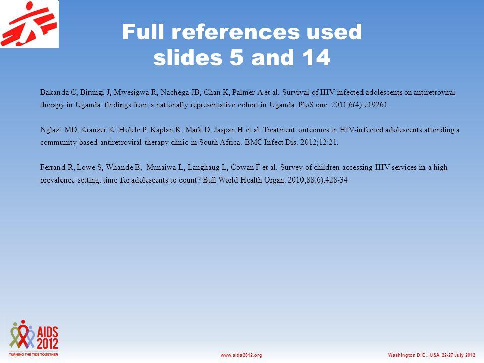 Washington D.C., USA, 22-27 July 2012www.aids2012.org Full references used slides 5 and 14 Bakanda C, Birungi J, Mwesigwa R, Nachega JB, Chan K, Palmer A et al.