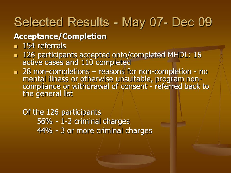 Selected Results - May 07- Dec 09 Acceptance/Completion 154 referrals 154 referrals 126 participants accepted onto/completed MHDL: 16 active cases and 110 completed 126 participants accepted onto/completed MHDL: 16 active cases and 110 completed 28 non-completions – reasons for non-completion - no mental illness or otherwise unsuitable, program non- compliance or withdrawal of consent - referred back to the general list 28 non-completions – reasons for non-completion - no mental illness or otherwise unsuitable, program non- compliance or withdrawal of consent - referred back to the general list Of the 126 participants 56% - 1-2 criminal charges 44% - 3 or more criminal charges