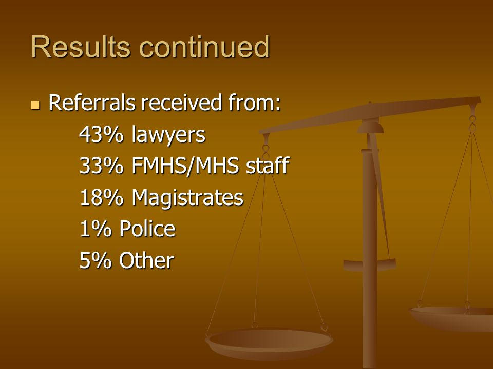 Results continued Referrals received from: Referrals received from: 43% lawyers 33% FMHS/MHS staff 18% Magistrates 1% Police 5% Other