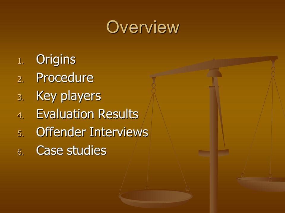 Overview 1. Origins 2. Procedure 3. Key players 4. Evaluation Results 5. Offender Interviews 6. Case studies