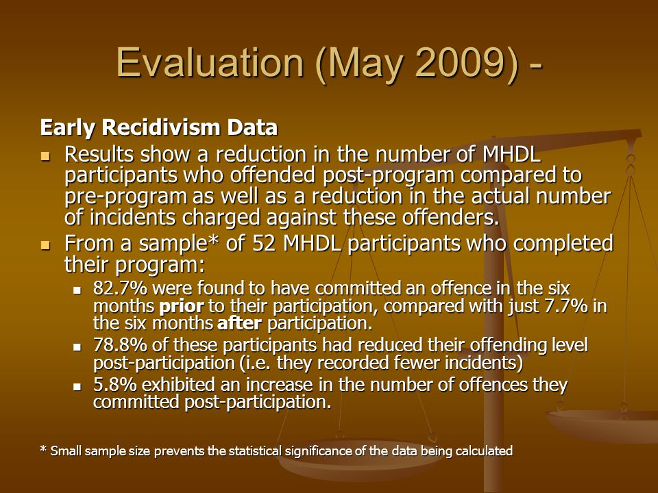 Evaluation (May 2009) - Early Recidivism Data Results show a reduction in the number of MHDL participants who offended post-program compared to pre-program as well as a reduction in the actual number of incidents charged against these offenders.