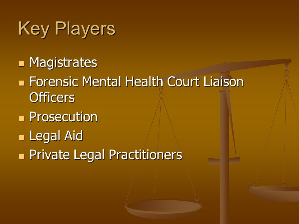 Key Players Magistrates Magistrates Forensic Mental Health Court Liaison Officers Forensic Mental Health Court Liaison Officers Prosecution Prosecution Legal Aid Legal Aid Private Legal Practitioners Private Legal Practitioners