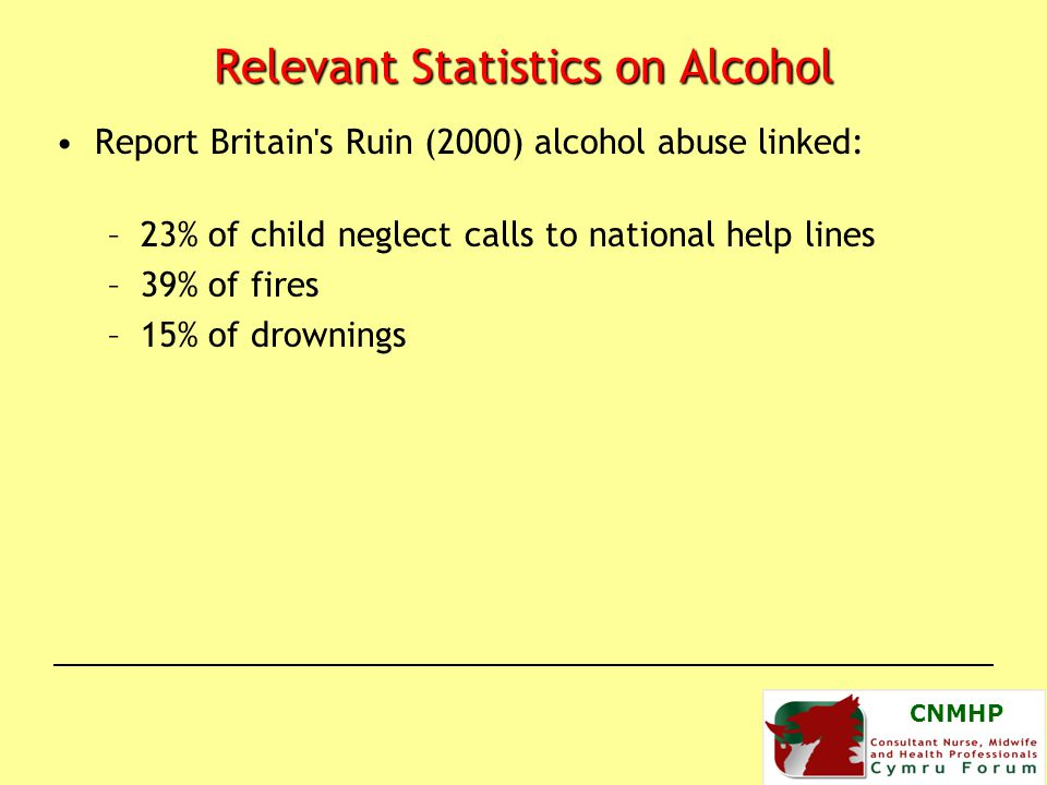 CNMHP Relevant Statistics on Alcohol Report Britain s Ruin (2000) alcohol abuse linked: –23% of child neglect calls to national help lines –39% of fires –15% of drownings