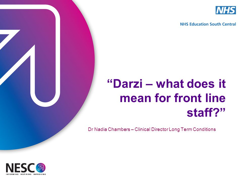 Darzi – what does it mean for front line staff? Dr Nadia Chambers – Clinical Director Long Term Conditions