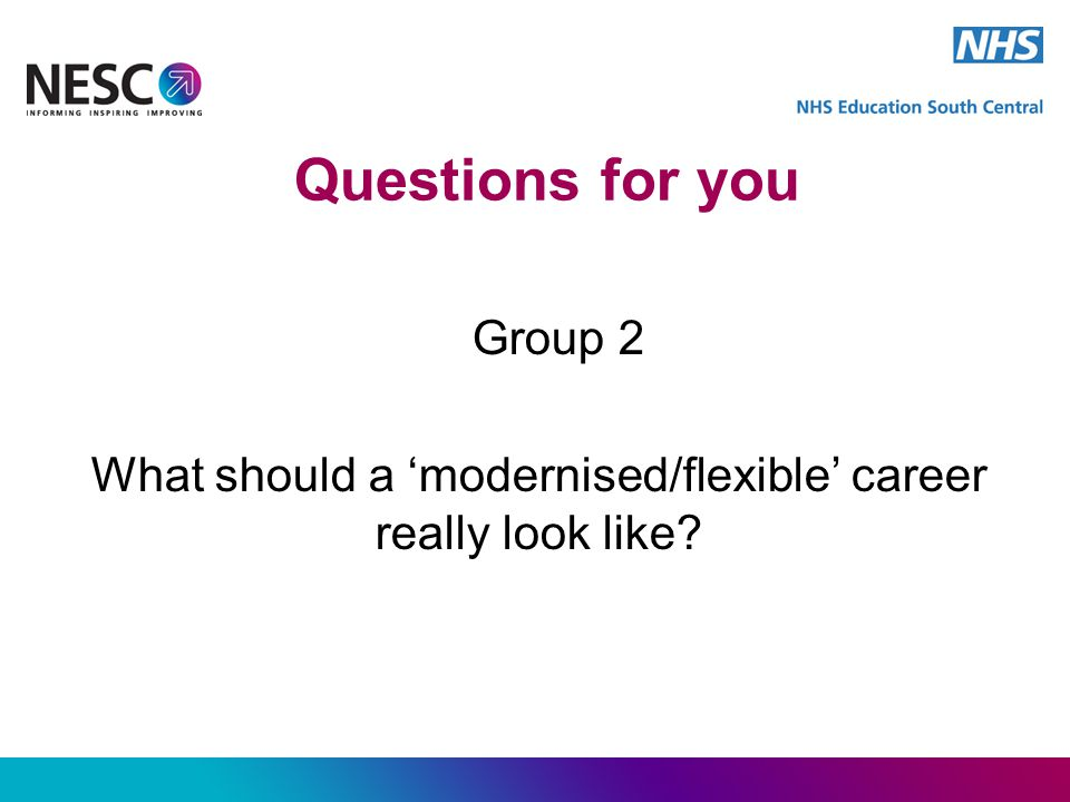 Questions for you Group 2 What should a 'modernised/flexible' career really look like?