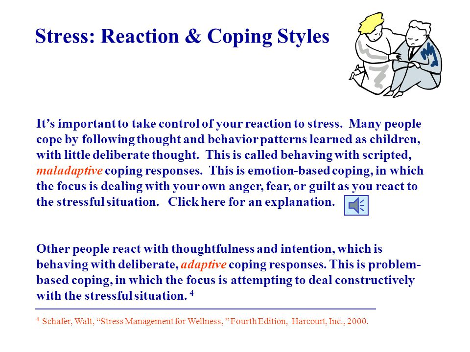 Stress: Key Reduction Factors Individuals who seem to cope best with stress share the following factors: * They feel in control of their lives * They