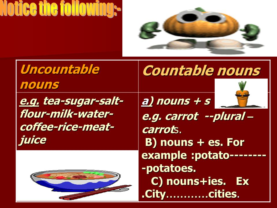Countable nouns Uncountable nouns a) nouns + s e.g.