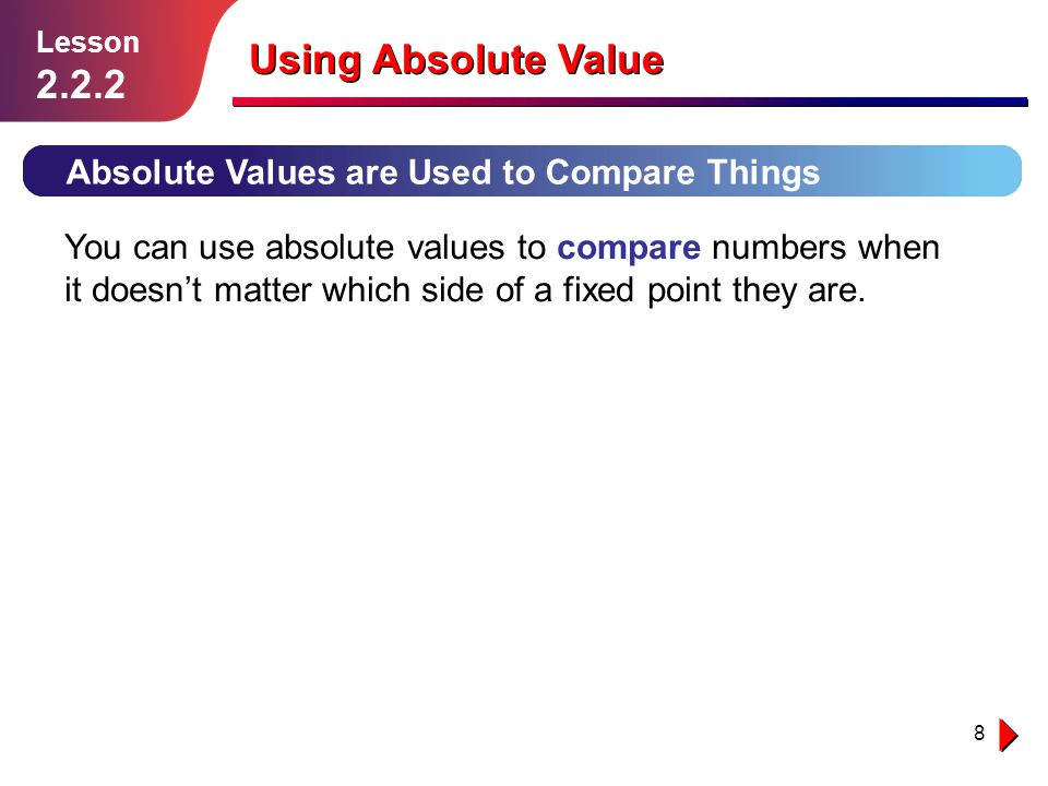 9 Using Absolute Value Example 2 Solution follows… Lesson 2.2.2 Find how far point A is above point B.