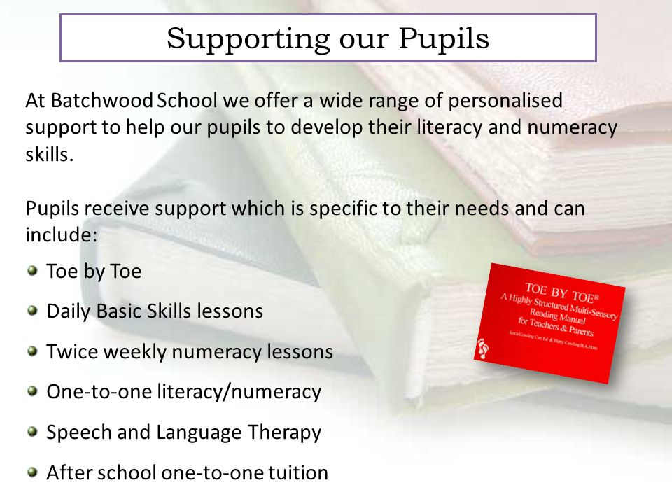 Supporting our Pupils At Batchwood School we offer a wide range of personalised support to help our pupils to develop their literacy and numeracy skills.