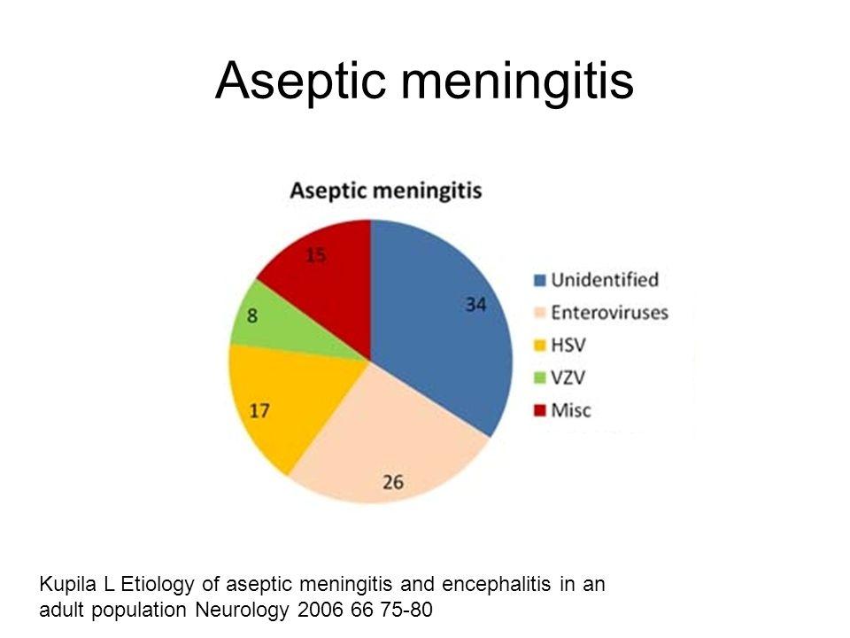 Kupila L Etiology of aseptic meningitis and encephalitis in an adult population Neurology 2006 66 75-80 Aseptic meningitis