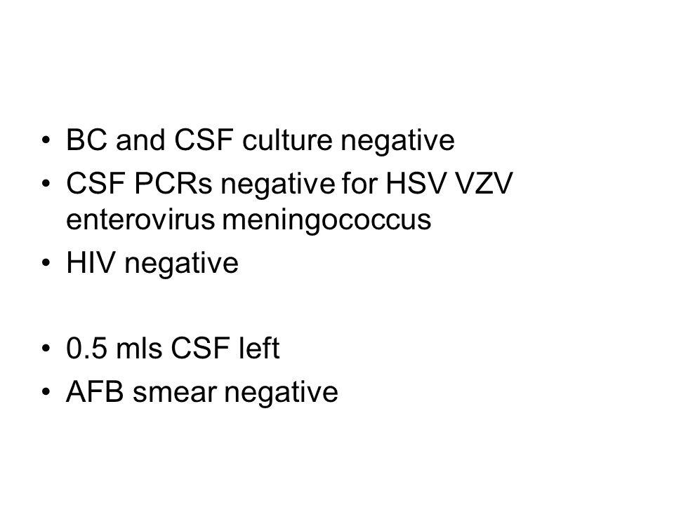 BC and CSF culture negative CSF PCRs negative for HSV VZV enterovirus meningococcus HIV negative 0.5 mls CSF left AFB smear negative