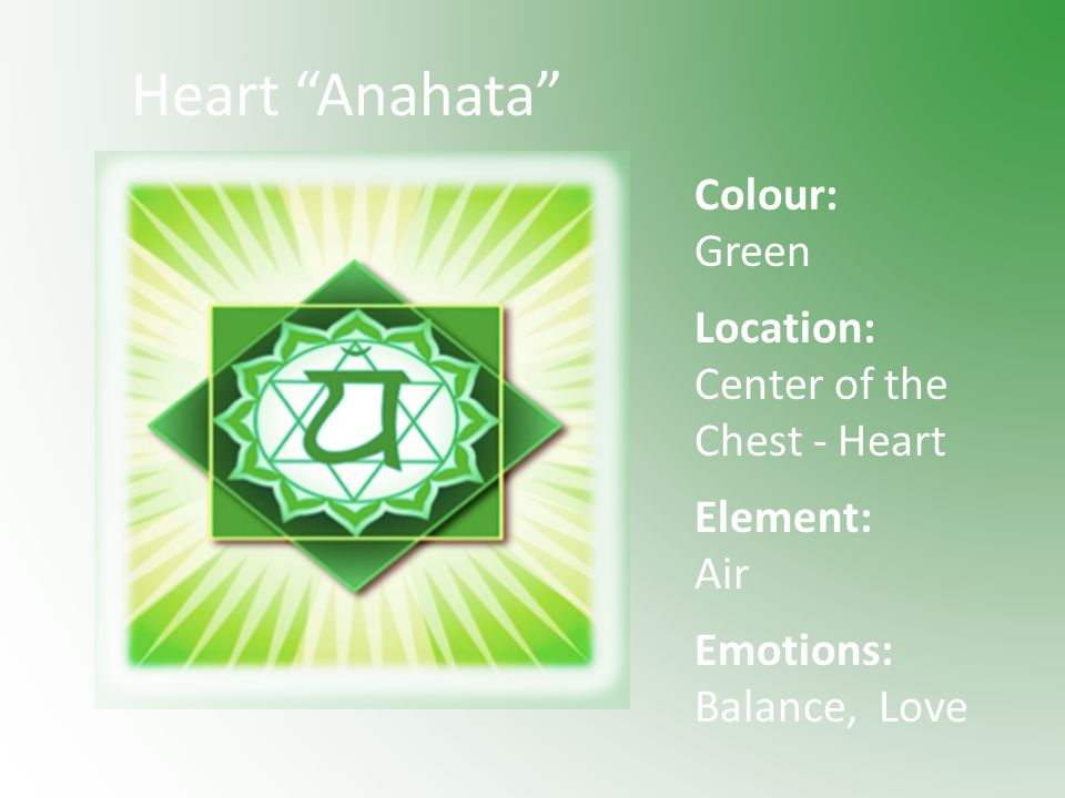 Heart Anahata Colour: Green Location: Center of the Chest - Heart Element: Air Emotions: Balance, Love