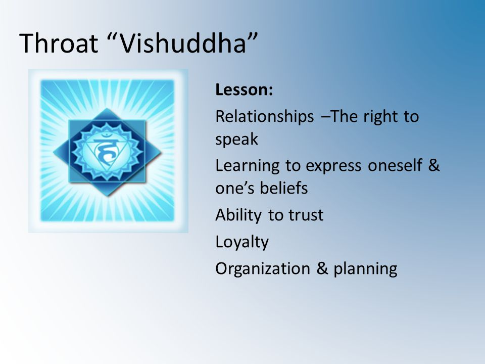 Throat Vishuddha Lesson: Relationships –The right to speak Learning to express oneself & one's beliefs Ability to trust Loyalty Organization & planning