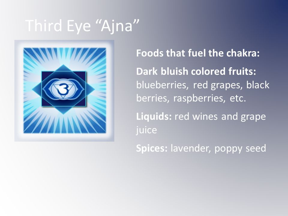 Third Eye Ajna Foods that fuel the chakra: Dark bluish colored fruits: blueberries, red grapes, black berries, raspberries, etc.