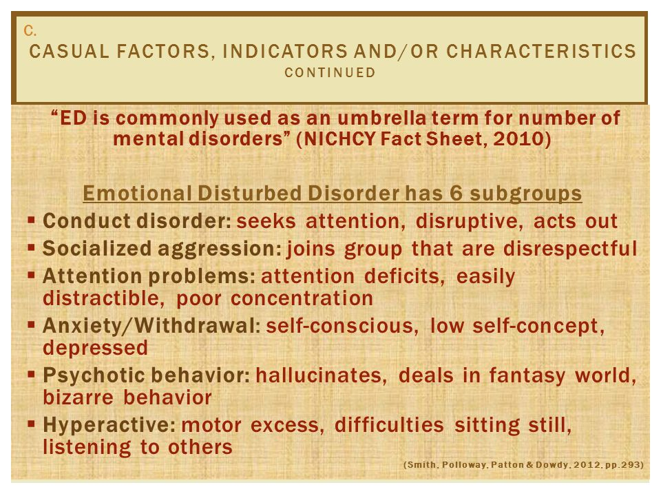 CASUAL FACTORS, INDICATORS AND/OR CHARACTERISTICS C. Possible Factors  Heredity  Diet  Stress  Family Functioning (NICHCY,2004)