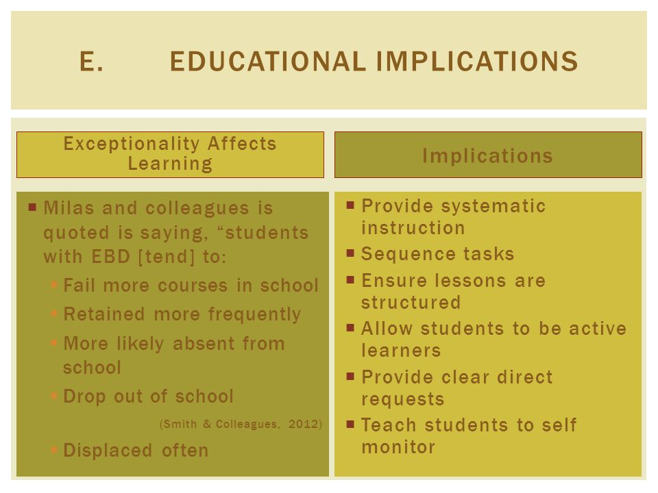 Exceptionality Affects Learning Implications  Provide systematic instruction  Sequence tasks  Ensure lessons are structured  Allow students to be active learners  Provide clear direct requests  Teach students to self monitor E.