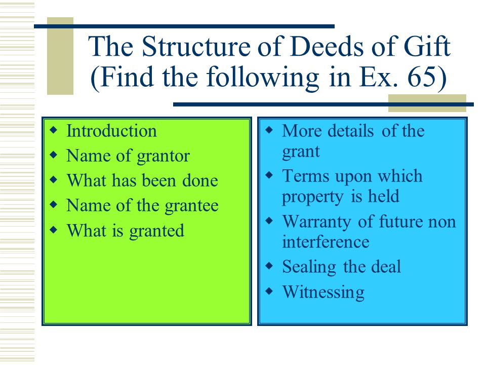 The Structure of Deeds of Gift (Find the following in Ex.