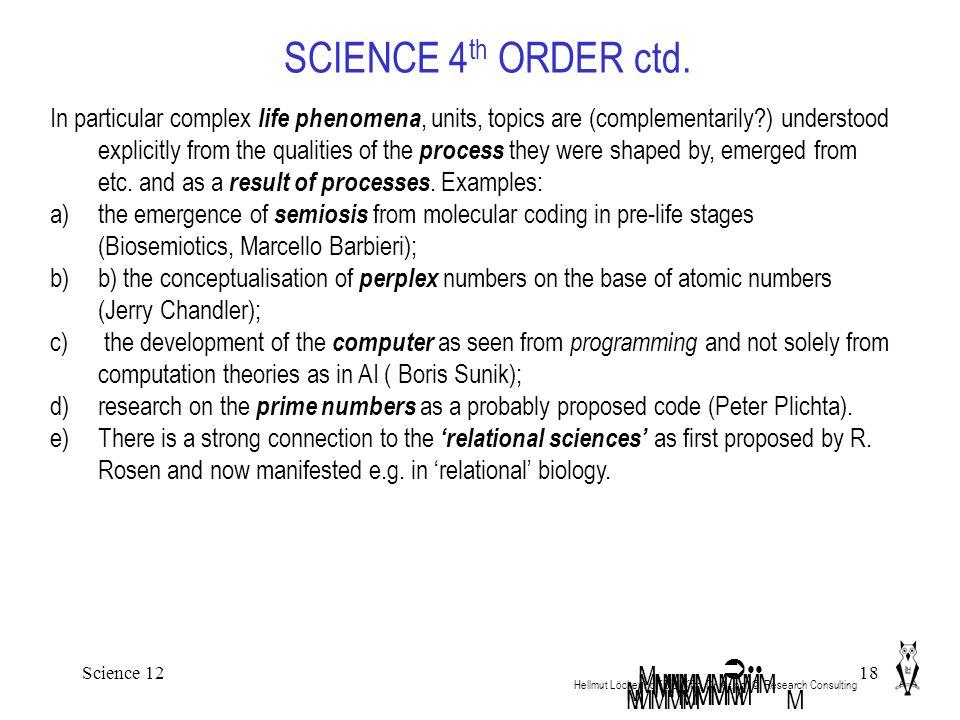 Science 1218 SCIENCE 4 th ORDER ctd. Hellmut Löckenhoff Dipl.Kfm. Dr.rer.pol. ©. Research Consulting MMM M  MMMMMMM M M MMMM M MMMMMMM In particular