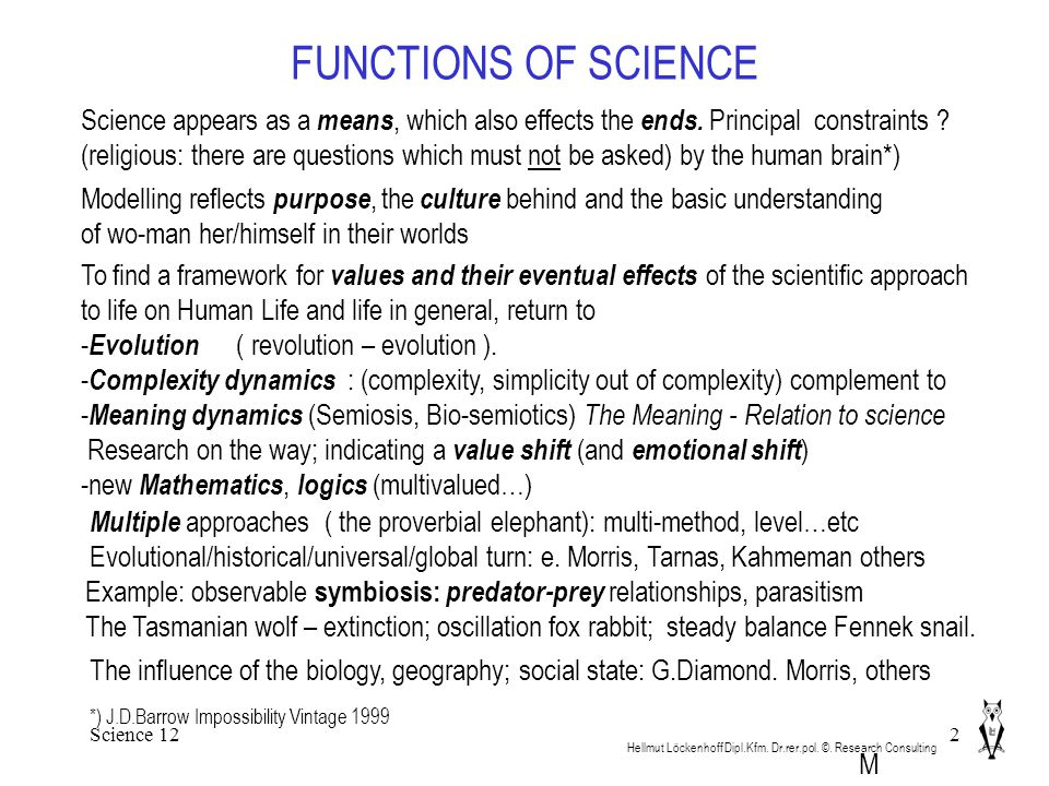 Science 122 FUNCTIONS OF SCIENCE Hellmut Löckenhoff Dipl.Kfm.