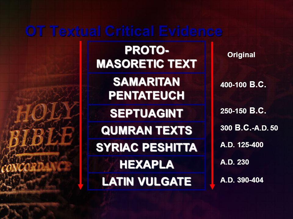 PROTO- MASORETIC TEXT SAMARITAN PENTATEUCH SEPTUAGINT QUMRAN TEXTS SYRIAC PESHITTA HEXAPLA LATIN VULGATE OT Textual Critical Evidence Original 400-100 B.C.