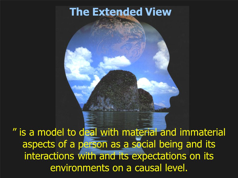 """The Extended View """" is a model to deal with material and immaterial aspects of a person as a social being and its interactions with and its expectatio"""