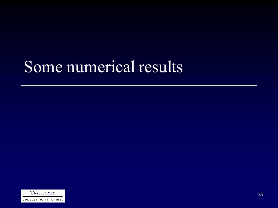 27 Some numerical results