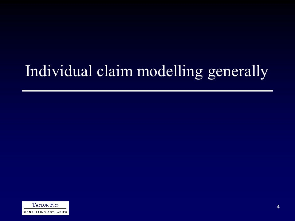 5 Conventional (aggregate) form of loss reserving DataFitted Forecast ModelForecast Individual claim data are aggregated into triangulations Interest here will be in individual claim models rather than the above