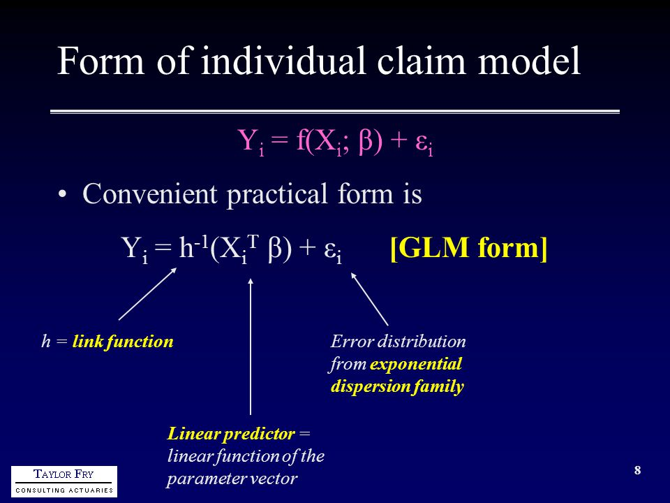 19 Form of individual claim model incorporating case estimates (cont'd) In fact, the model requires more structure than this because of claims and estimates for nil cost Let (for an individual claim) U = ultimate incurred (may = 0) C = current estimate (may = 0) X = other claim characteristics Model of Prob[U=0|C,X] Model of U|U>0,C=0,X Model of U/C|U>0,C>0,X Prob[U=0] Prob[U>0] If C=0 If C>0