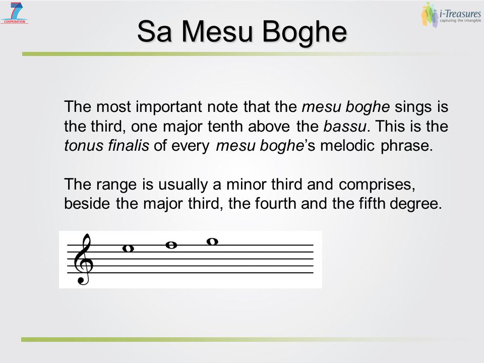Sa Mesu Boghe The mesu boghe has a voice in some cases quite natural and in some other ones tense, in order to put in evidence the highest harmonics.
