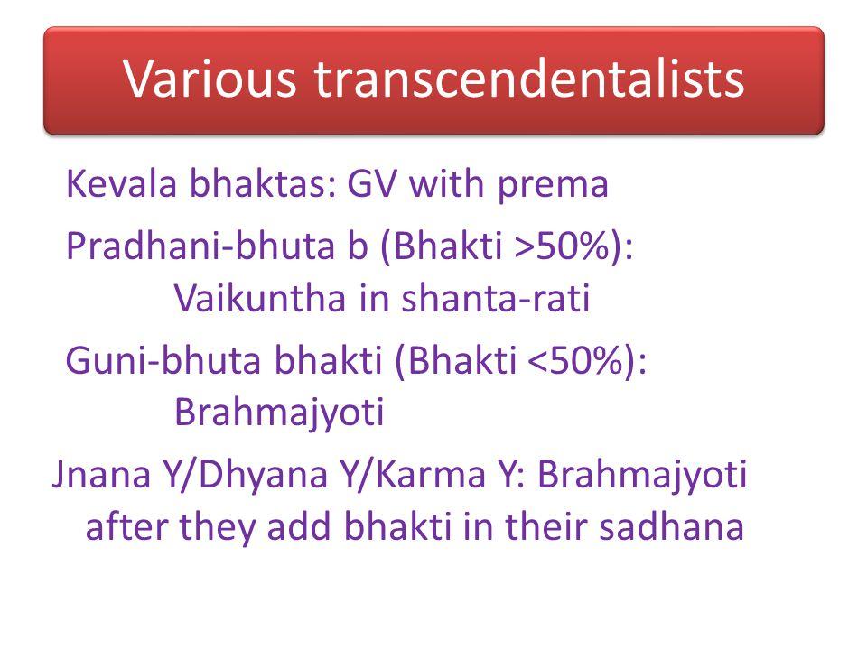 7 types of dev 7.16: 3 types of sakama d 7.17-19: Jnana-mishra d 7.28: Moksha-kami bhakta (JM or YM) 8.12: Yoga-mishra bhakta 7.1,8.14: Kevala bhakta