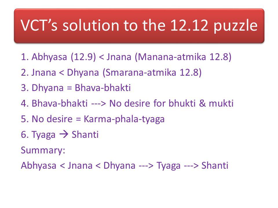 Analysis of 12.8-11 Hierarchy I. Internal Bhakti: 1. Smarana-atmika: Meditating on Krishna with mind (12.8) 2. Manana-atmika: Contemplating on Krishna