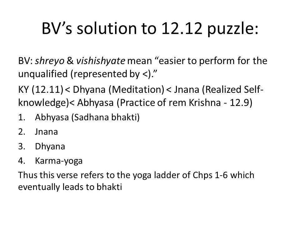 VCT's solution to the 12.12 puzzle 1. Abhyasa (12.9) < Jnana (Manana-atmika 12.8) 2. Jnana < Dhyana (Smarana-atmika 12.8) 3. Dhyana = Bhava-bhakti 4.