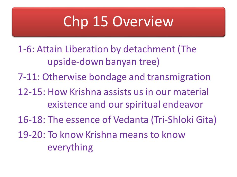 Chp 14 Overview 1-13: How the soul is conditioned by the modes 1-2: Glorification of the knowledge 3-4: How the soul contacts matter 5-9: How the mode