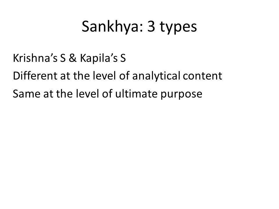 Sankhya: 3 types 1.Bhagavat sankhya: 26 Sankhya: Devahuti- putra Kapila 2.Mayavadi Sankhya: 25 Sankhya 3.Materialistic Sankhya: 24 Sankhya – Atheistic
