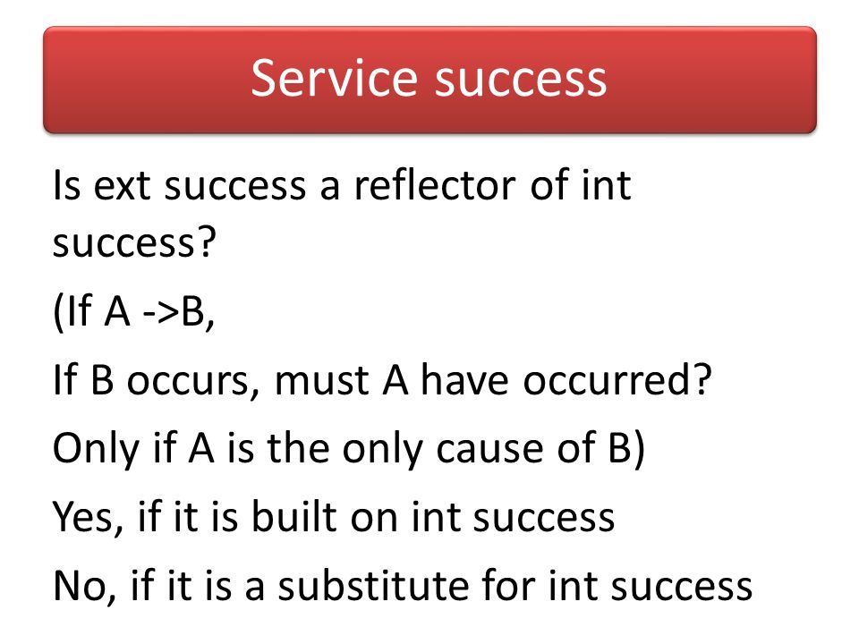 Service success Ext success: what the world sees: we are judged by that which is not in our control Int success: what Krishna sees: we are judged by t