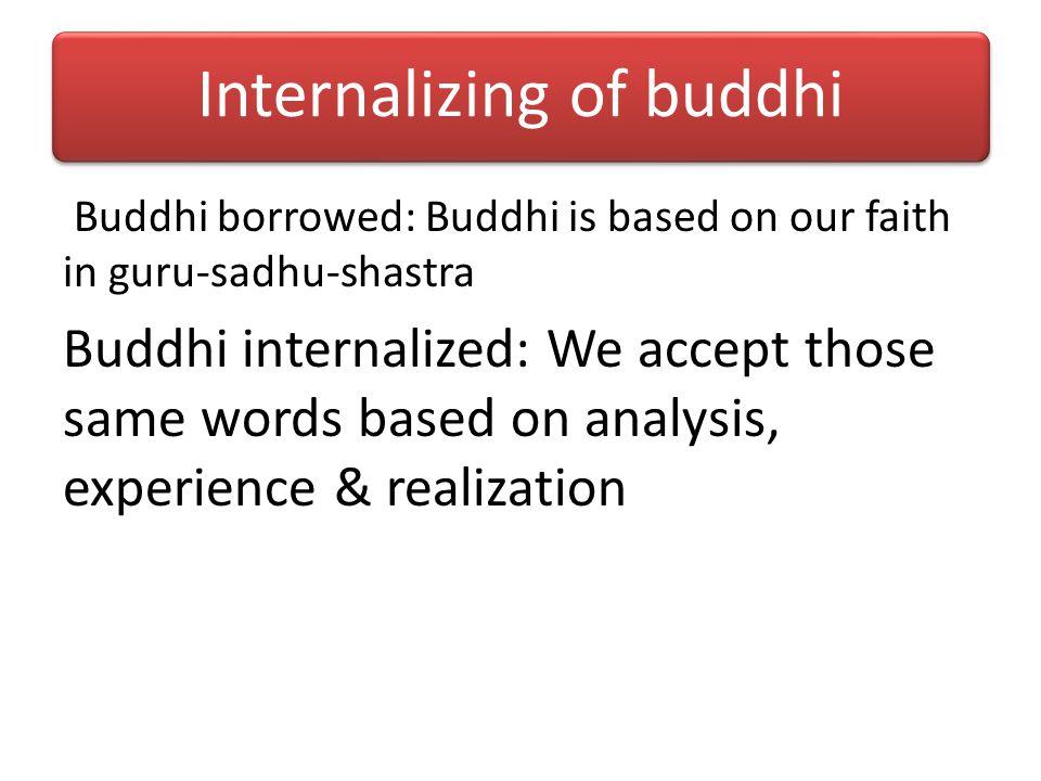 Rel bet Buddhi & Smriti Smriti = Memory: Memory of the words of guru-sadhu-shastra Buddhi == Smriti Mat buddhi – Product of past karma Sp buddhi – Gif