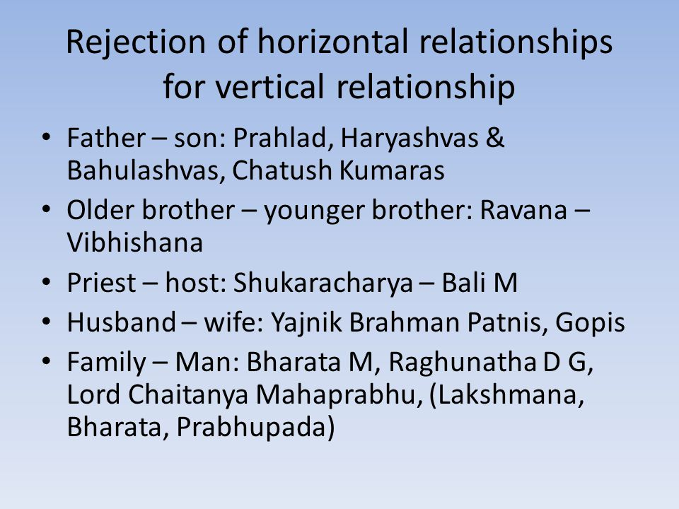 Rejection of horizontal relationships for vertical relationship Father – son: Prahlad, Haryashvas & Bahulashvas, Chatush Kumaras Older brother – younger brother: Ravana – Vibhishana Priest – host: Shukaracharya – Bali M Husband – wife: Yajnik Brahman Patnis, Gopis Family – Man: Bharata M, Raghunatha D G, Lord Chaitanya Mahaprabhu, (Lakshmana, Bharata, Prabhupada)