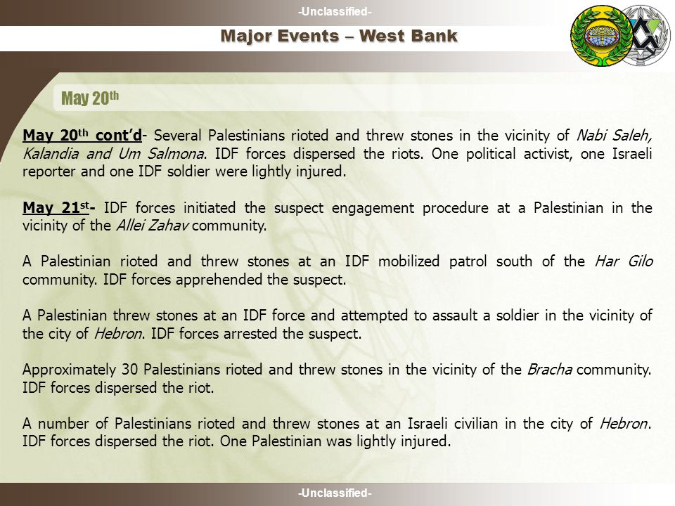 -Unclassified- May 20 th cont'd- Several Palestinians rioted and threw stones in the vicinity of Nabi Saleh, Kalandia and Um Salmona.