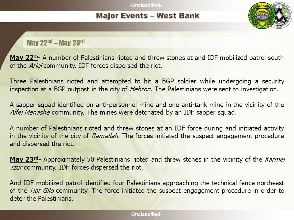 -Unclassified- May 22 th - A number of Palestinians rioted and threw stones at and IDF mobilized patrol south of the Ariel community.