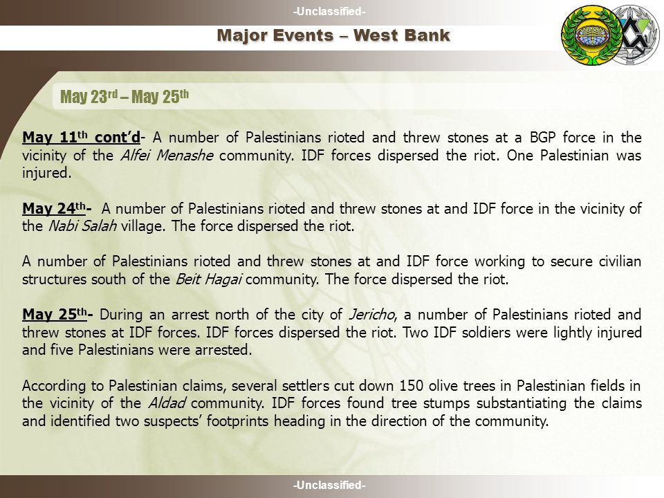 -Unclassified- May 11 th cont'd- A number of Palestinians rioted and threw stones at a BGP force in the vicinity of the Alfei Menashe community.